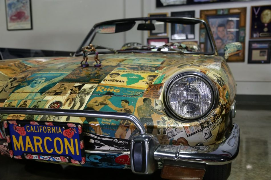 Cutman and friend of Dick Marconi - Chuck Bodak spent 4 years decoupaging this Fiat!