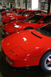 """Red Row"" - lineup of Ferraris"
