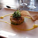 Crab Timbale—Avocado, Corn, and Robbins Family Mandarin Olive Oil