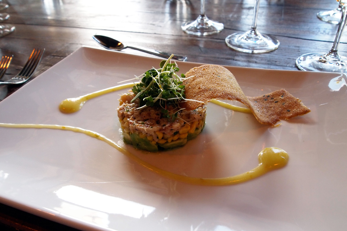 Crab Timbale—Avocado, Corn, and Robbins Family Mandarin Olive Oil