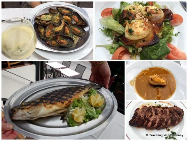 From top left: Les moules gratinées à la Provençal (mussels), La salade au chèvre chaud (goat cheese salad), Soupe de Poissons (fish soup), Le magret de canard (duck breast),Le loup grillé au fenouil (sea bass)