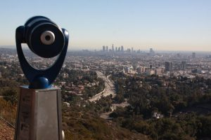 View from Mulholland Drive overlooking downtown Los Angeles in the distance and the 101 Freeway in the foreground