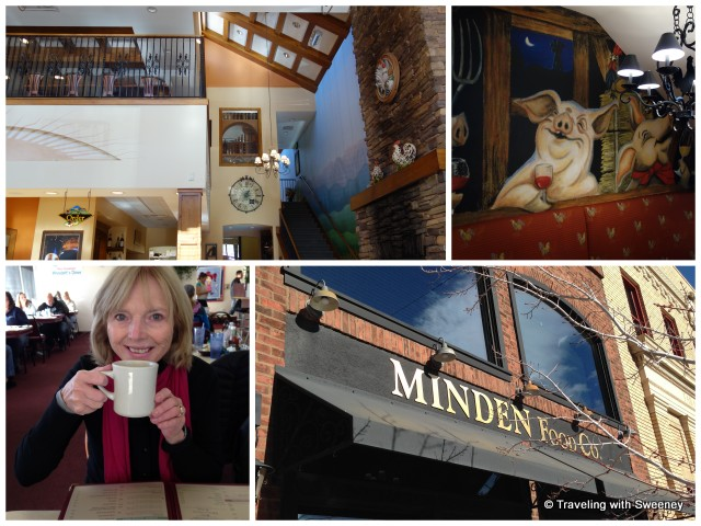 Light and spacious Minden Food Company and whimsical mural; much-needed coffee at Woodett's Diner (bottom left)