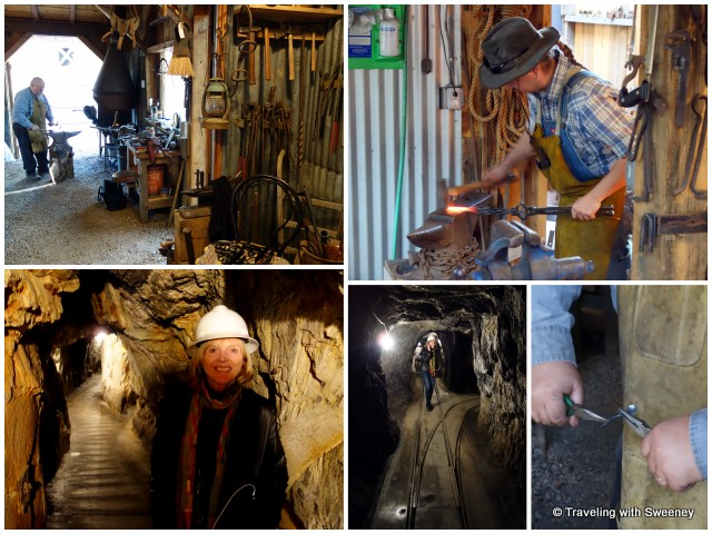 On the mine tour at Gold Bug Mine and watching the blacksmith at work in the stamp mill