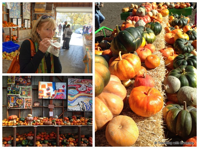 Indulging in a Hot Apple Cider donut and admiring the colorful artwork and produce at Rainbow Orchards