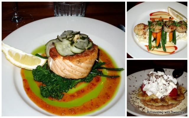 Salmon, scallops, and banana cream pie at Riva Grill