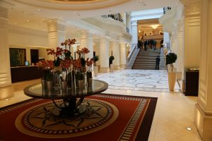 The grand foyer as you enter the Corinthia Hotel