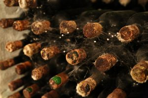 Mold is common on the wine bottles that age in the wine caves for many years