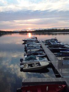 Ontario - Peterborough and the Kawarthas - Lantern Restaurant & Grill - McCracken's Landing on Stoney Lake where boats dock to reach restaurant at sunset 1