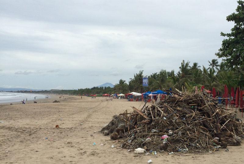 Trash and debris heaps on Legian beach