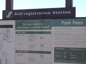 Self-registration board Flinders Ranges