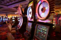 The large number of travelers & visitors & slot machines and pokies in Las Vegas