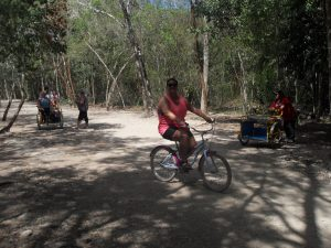 M showing off her jungle bike riding skills!