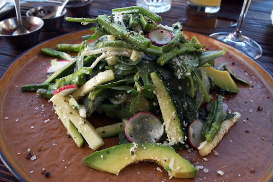 VERDE ES VIDA SALAD: salt-cured cactus / watercress / bloomsdale spinach / zucchini / chayote squash / purslane / mexican oregano vinaigrette / avocado / 18 month aged cotija