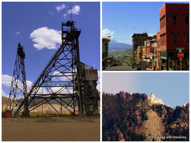 "Iconic scenes of Butte: headframes, historic ""Uptown"", and ""Our Lady of the Rockies"" statue atop the Continental Divide overlooking Butte"