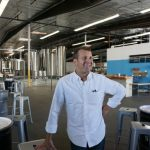 Rich Marcello, at ease in his new location for Strand Brewing.