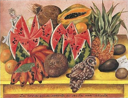 Still Life with Watermelons, Fruit, Animals and Fairy by Frida Kahlo
