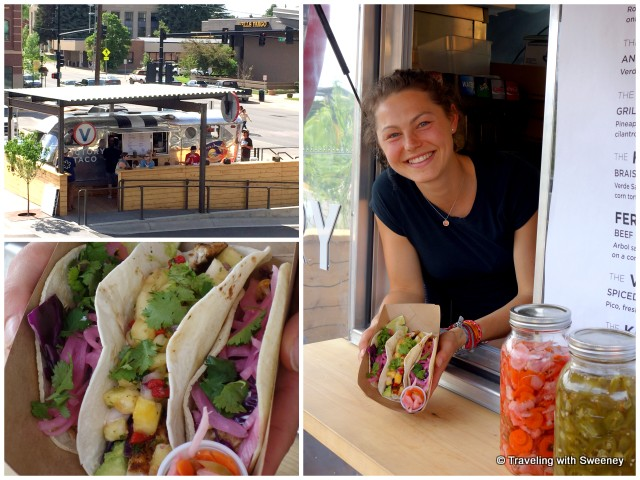"Service with a smile adds to the enjoyment of these delicious fresh tacos (""The Fin"" between ""The Birds"") at Victory Taco"