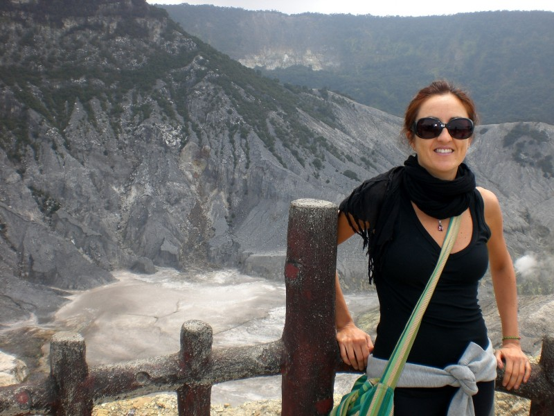 Taking in the view of Tangkuban Perahu