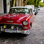 One of the many vintage cars that can be seen parked on the streets of Colonia del Sacramento