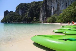 Getting ready to kayak in Hong Island