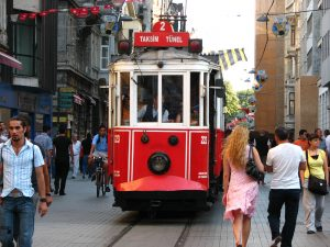 Nostalgic Tram on Istiklal Avenue.