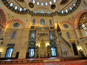 Splendid interior decoration of Süleymaniye Mosque.