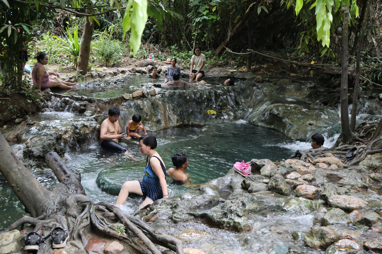 Enjoying the hot waters of the Thermal Stream