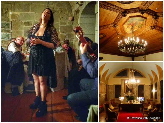 Left: Fado singer and guitarist performing at the 11th-century Alpendurada Monastery; interior scenes of the monastery