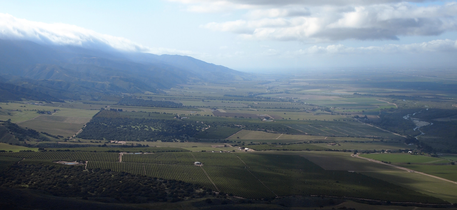 view down the Salinas Valley toward Monterey Bay