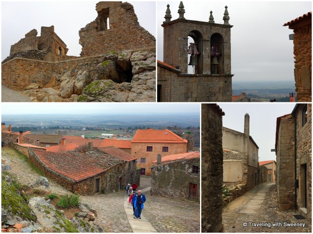 Walking along the steep lanes and paths of Castelo Rodrigo past ruins, modest homes, shops, and church