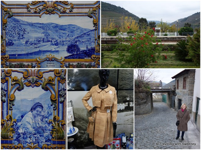 Murals of azulejo tiles at the railway station; strolling through the village, we found unique items made from cork, such as the dress (bottom center)