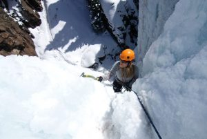 Rachel Ice climbing