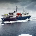 Ortelius with helicopter in the Ross Sea Credit: © Toine Hendriks, Oceanwide Expeditions