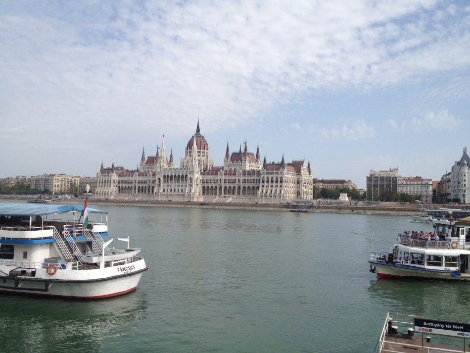 The Hungarian Parliament building seen from the other side of the Danube