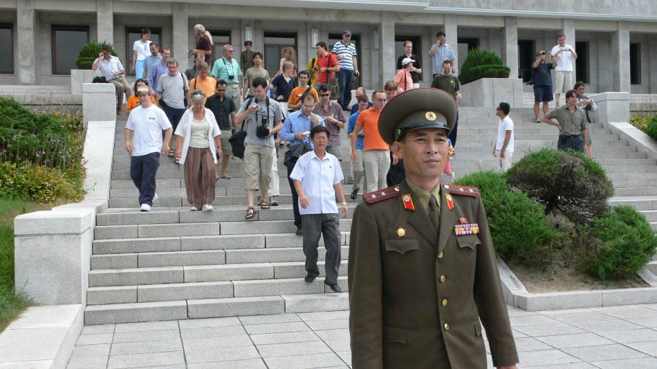 Tourists led out to the DMZ. Credit: Koryo Tours
