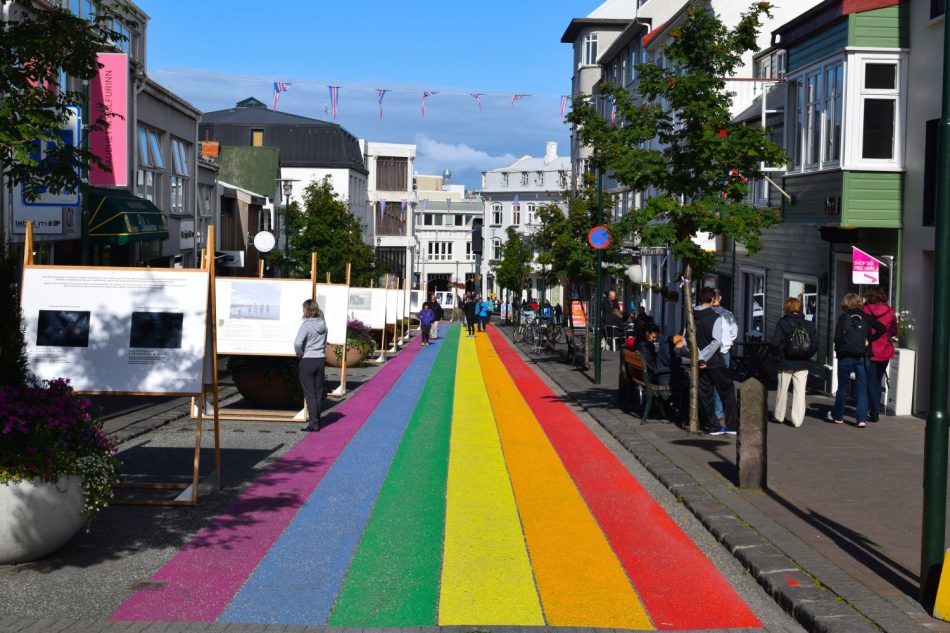 A street painted with rainbow colors in Reykjavik