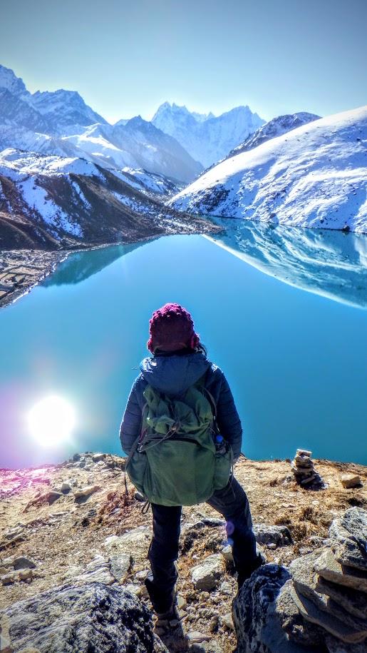 At Gokyo Ri overlooking Gokyo Lakes in Nepal's Himalayas.
