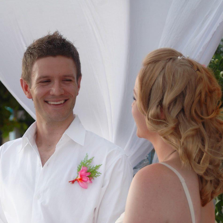 Kim & Rob reciting their vows
