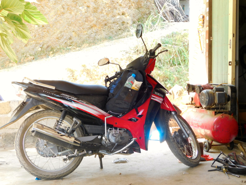motorbike and backpack