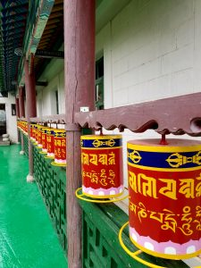 Buddhist prayer rolls at monastery