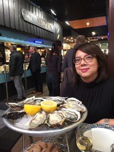 Treat yourselves to the freshest oysters with a nice cold glass of their house white at Chez Antonin in Les Halles de Lyon – Paul Bocuse