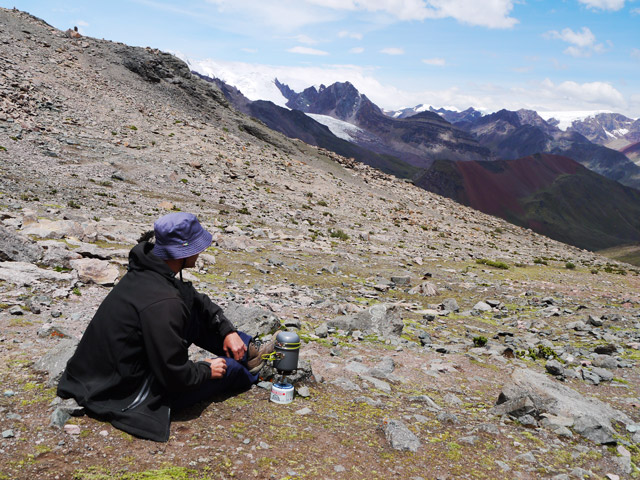 Making coffee with a view. 5000m aove sea level stopping for a coffee break on Mount Ausangate in Peru.