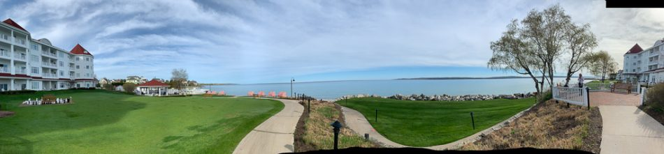 Views of Little Traverse Bay from the Inn at Bay Harbor.