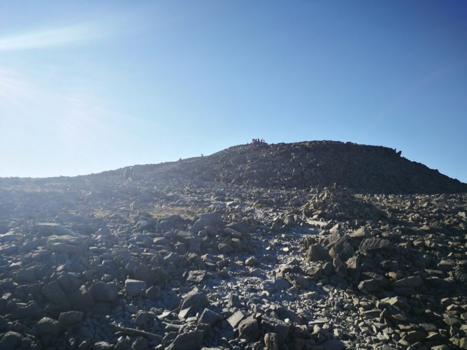 Boulder field on the top of Scafell Pike via the easy route