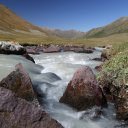 Beautiful mountain scenery, high up in Kyrgyzstan