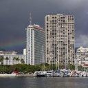 Rainbow photo of Honolulu buildings