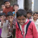 Kids laughing when their photo is taken, Agra