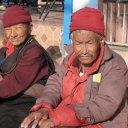 Tibetans enjoying a cold sunshine