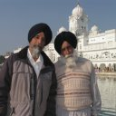 Sikh men posing, Golden Temple, Amritsar